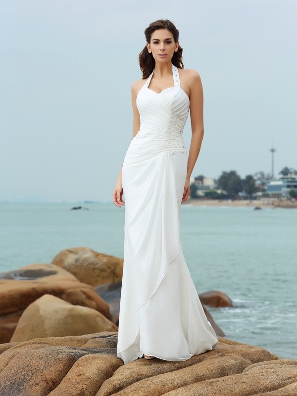 Sheath/Column Pleats Halter Sleeveless Court Train Chiffon Wedding Dresses