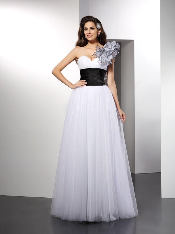 A-Line/Princess Sash/Ribbon/Belt One-Shoulder Sleeveless Floor-Length Net Dresses