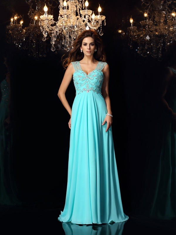 A-Line/Princess Beading Sweetheart Sleeveless Sweep/Brush Train Chiffon Dresses