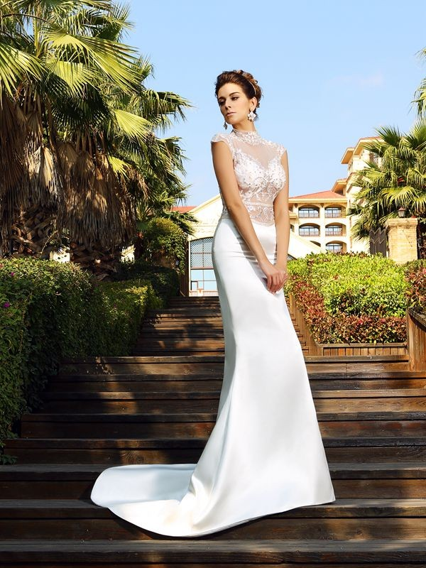 Trumpet/Mermaid Beading High Neck Sleeveless Court Train Satin Wedding Dresses