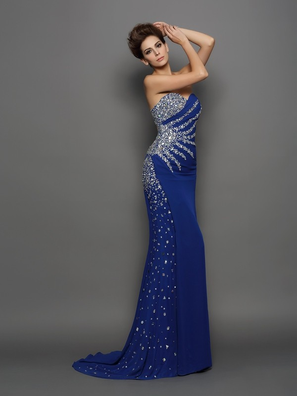 Trumpet/Mermaid Rhinestone Sweetheart Sleeveless Court Train Chiffon Dresses