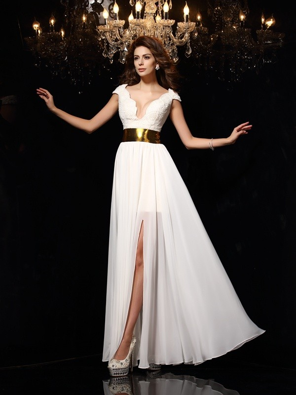 A-Line/Princess Lace V-neck Sleeveless Floor-Length Chiffon Dresses