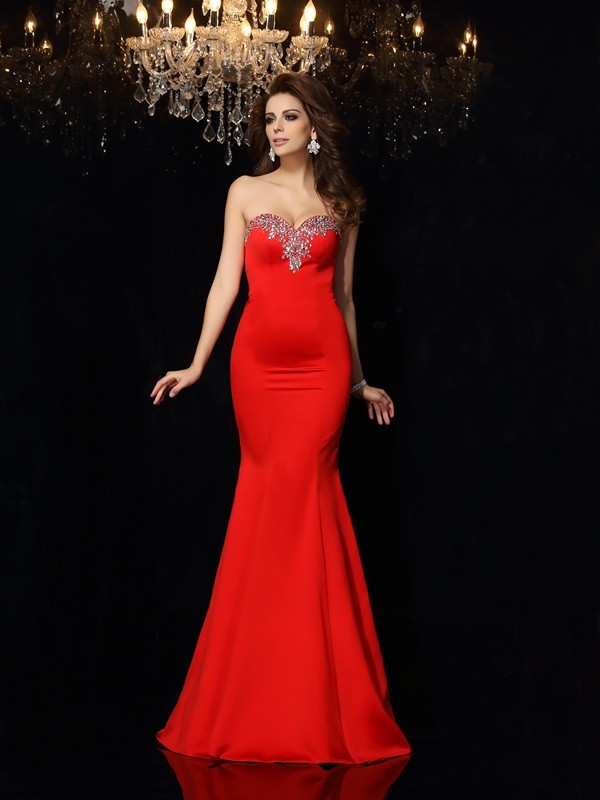 Sheath/Column Beading Sweetheart Sleeveless Court Train Satin Dresses