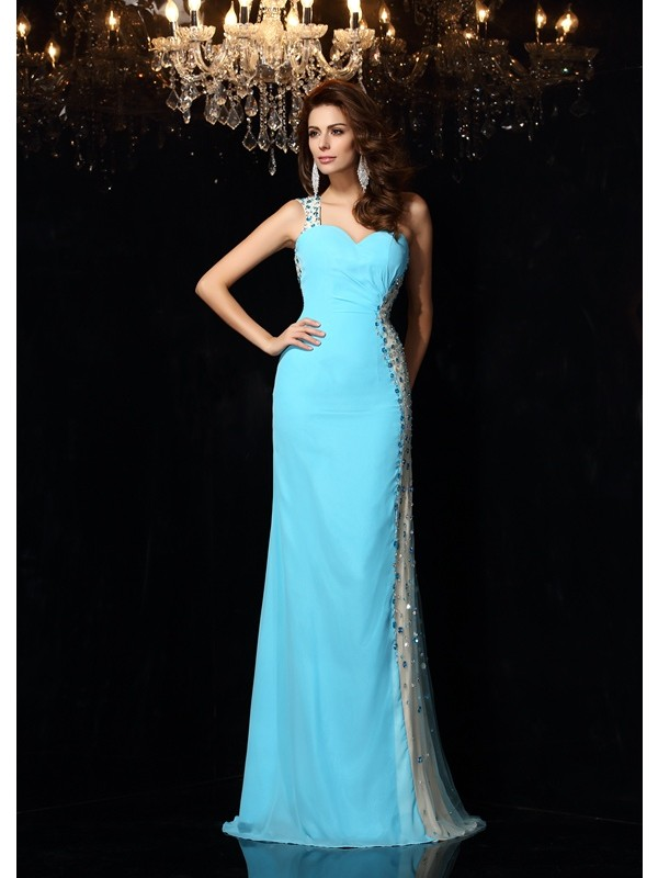 Sheath/Column Rhinestone One-Shoulder Sleeveless Floor-Length Chiffon Dresses