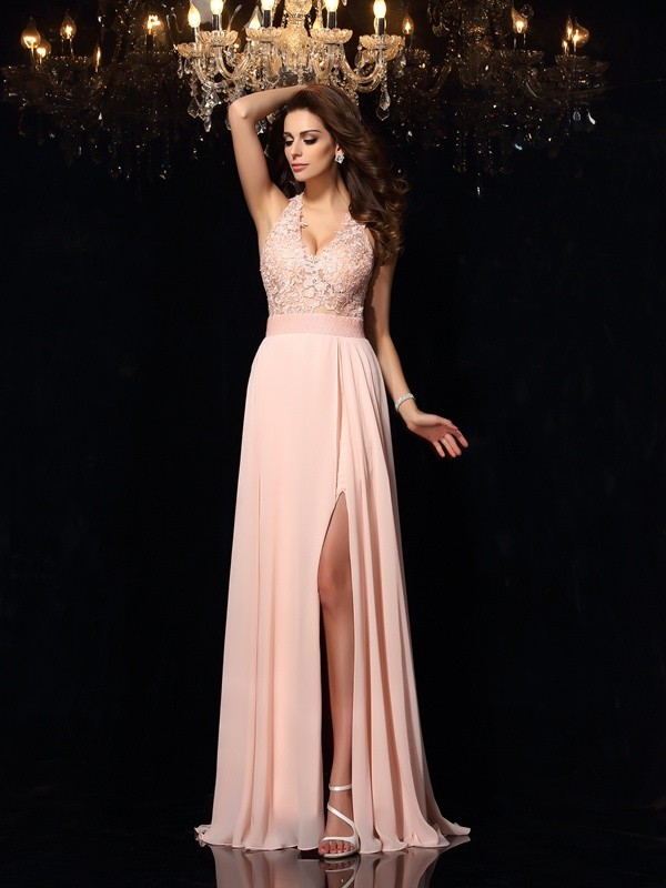 A-Line/Princess Lace Halter Sleeveless Sweep/Brush Train Chiffon Dresses