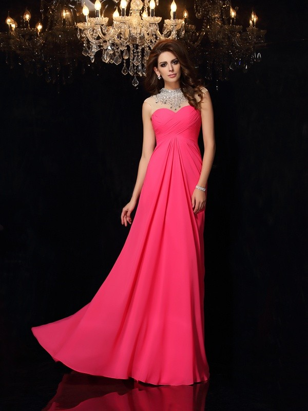 A-Line/Princess Ruched High Neck Sleeveless Sweep/Brush Train Chiffon Dresses