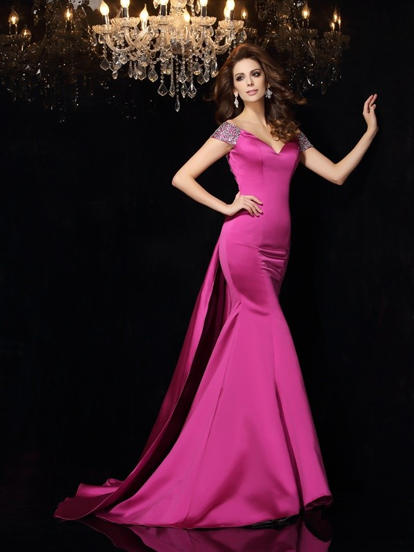 Trumpet/Mermaid Beading Off-the-Shoulder Sleeveless Court Train Satin Dresses
