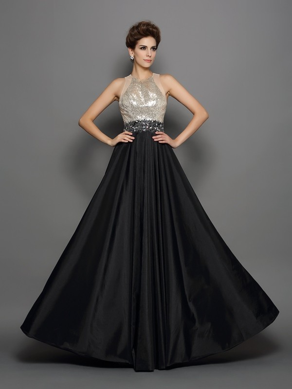 A-Line/Princess Sequin High Neck Sleeveless Floor-Length Taffeta Dresses
