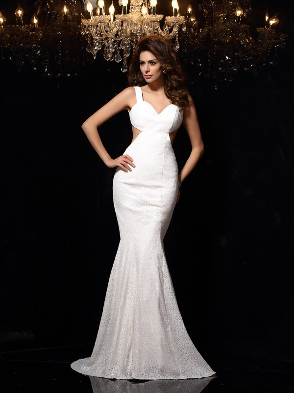 Trumpet/Mermaid Beading Straps Sleeveless Court Train Lace Dresses