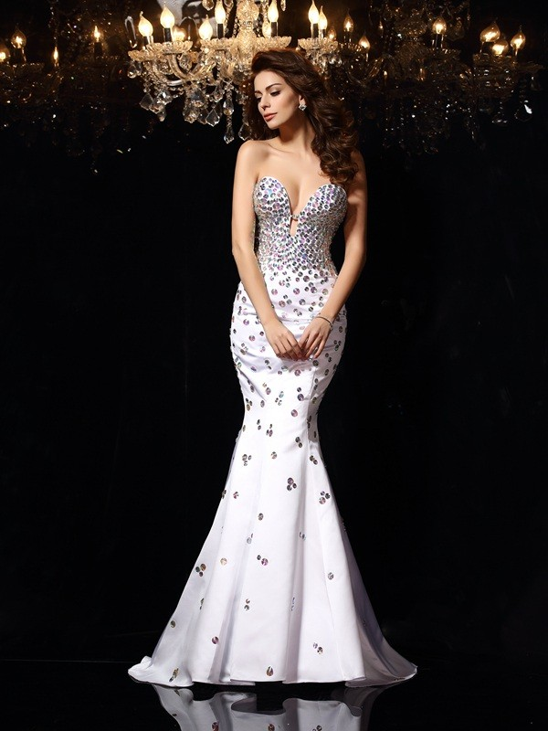 Trumpet/Mermaid Rhinestone Sweetheart Sleeveless Court Train Satin Dresses