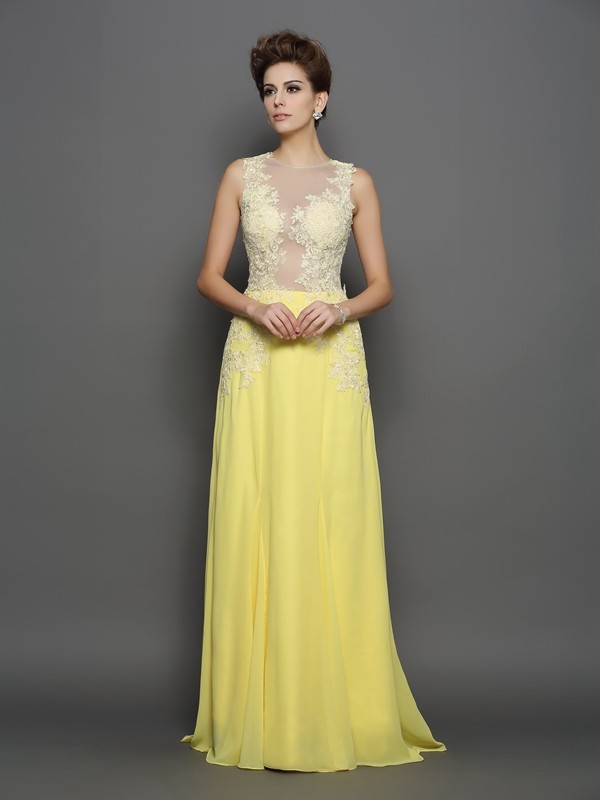 A-Line/Princess Lace Scoop Sleeveless Sweep/Brush Train Chiffon Dresses