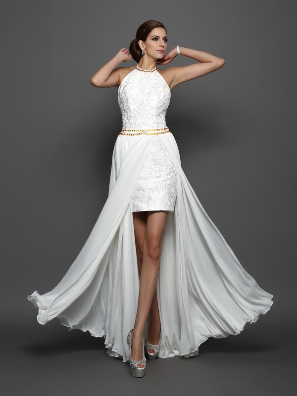 A-Line/Princess Lace High Neck Sleeveless Chapel Train Chiffon Wedding Dresses