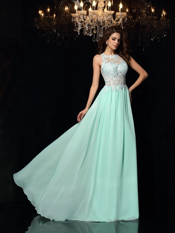 A-Line/Princess Applique High Neck Sleeveless Sweep/Brush Train Chiffon Dresses
