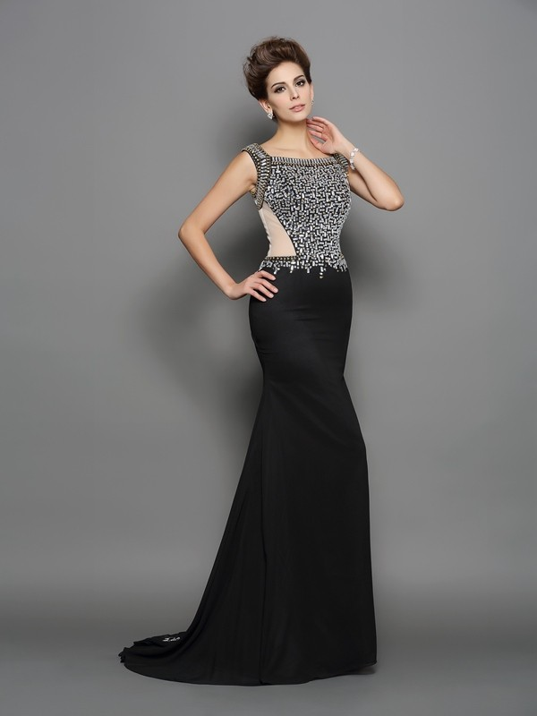 Trumpet/Mermaid Beading Square Sleeveless Sweep/Brush Train Chiffon Dresses