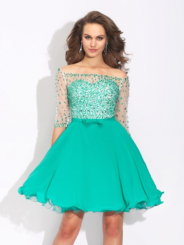 A-Line/Princess Beading Off-the-Shoulder 1/2 Sleeves Short/Mini Chiffon Dresses