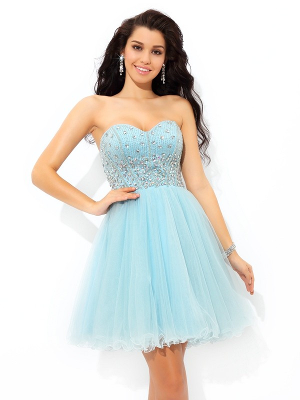 d4822a35365d A-Line/Princess Beading Sweetheart Sleeveless Short/Mini Satin Dresses