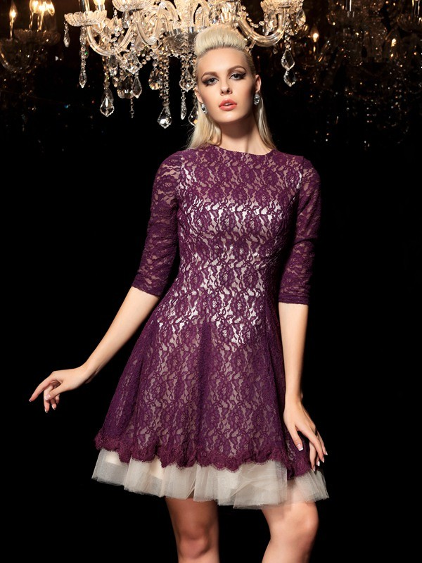 A-Line/Princess Lace Sheer Neck 1/2 Sleeves Short/Mini Lace Dresses