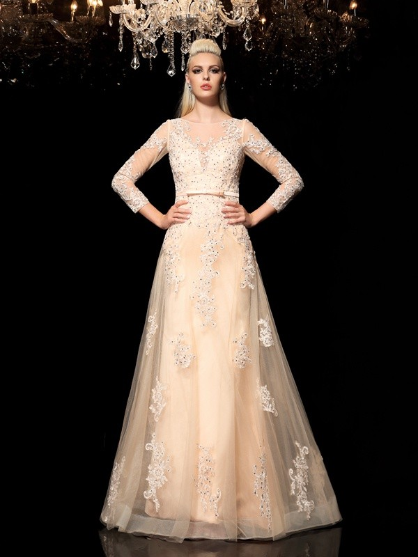 A-Line/Princess Applique Sheer Neck Long Sleeves Floor-Length Satin Wedding Dresses