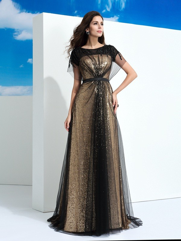 A-Line/Princess Paillette Sheer Neck Short Sleeves Floor-Length Net Dresses