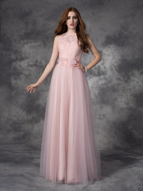 A-Line/Princess Hand-Made Flower Bateau Sleeveless Floor-Length Net Dresses