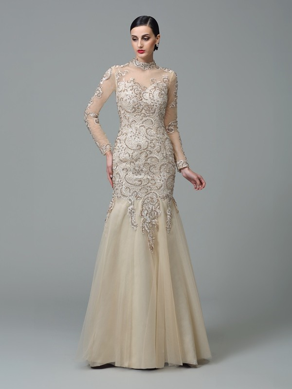 Sheath/Column Applique High Neck Long Sleeves Floor-Length Net Dresses