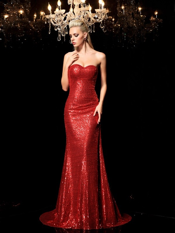 Sheath/Column Sequin Sweetheart Sleeveless Sweep/Brush Train Sequins Dresses