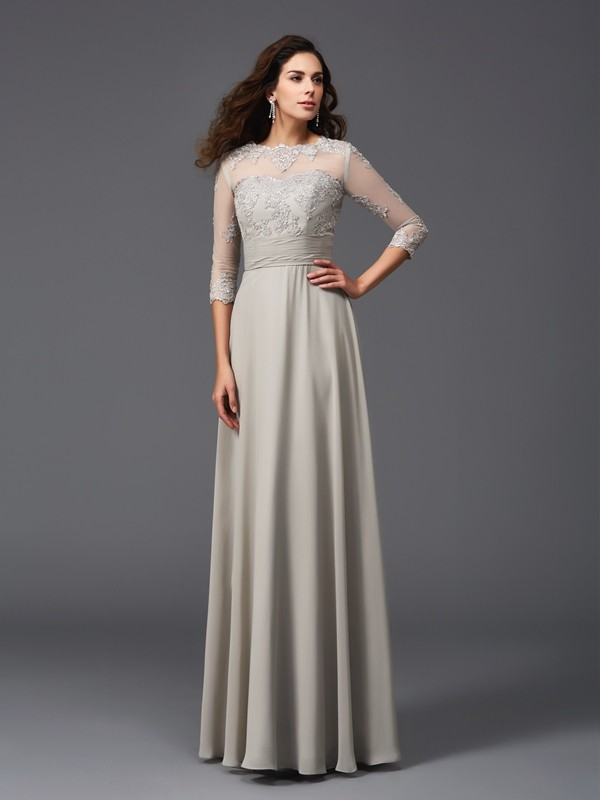 A-Line/Princess Applique Scoop 3/4 Sleeves Floor-Length Chiffon Dresses