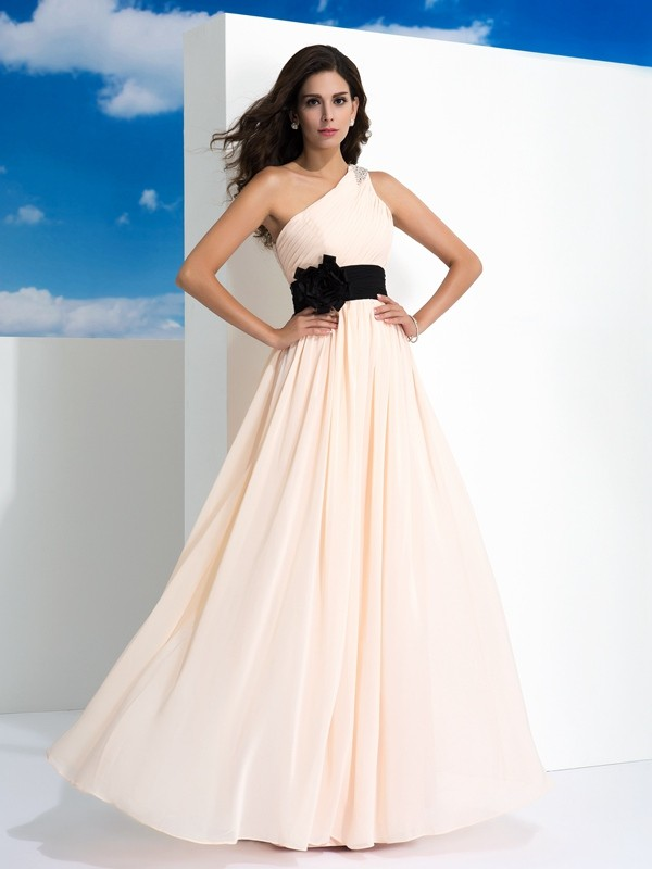 A-Line/Princess Sash/Ribbon/Belt One-Shoulder Sleeveless Floor-Length Chiffon Dresses