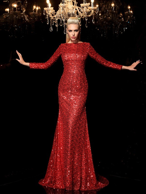 Sheath/Column Sequin Scoop Long Sleeves Sweep/Brush Train Sequins Dresses