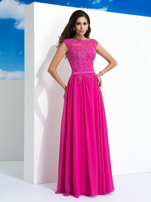 A-Line/Princess Lace Sheer Neck Sleeveless Floor-Length Chiffon Dresses