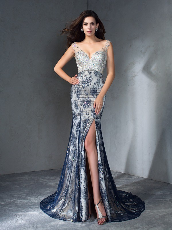 Trumpet/Mermaid Beading V-neck Sleeveless Sweep/Brush Train Lace Dresses