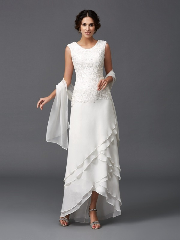 A-Line/Princess Lace Scoop Sleeveless Ankle-Length Chiffon Mother of the Bride Dresses