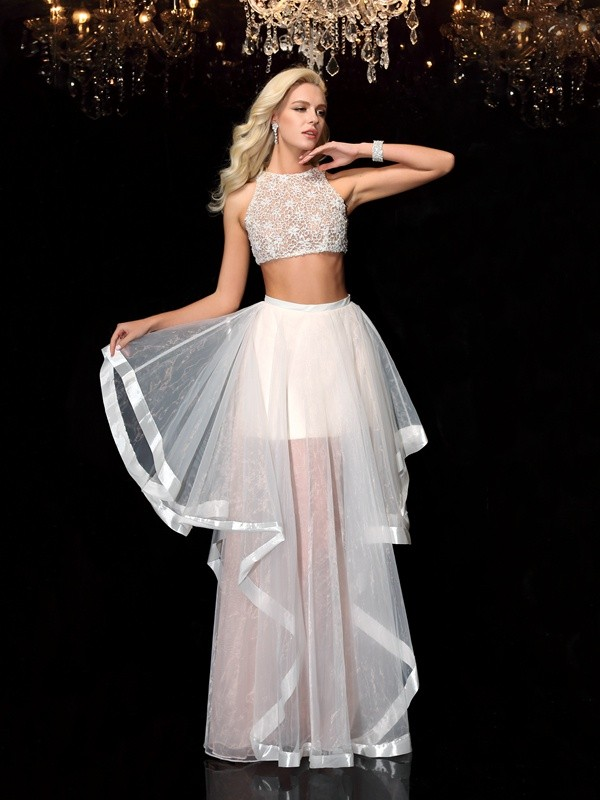 A-Line/Princess Applique Scoop Sleeveless Floor-Length Tulle Two Piece Dresses