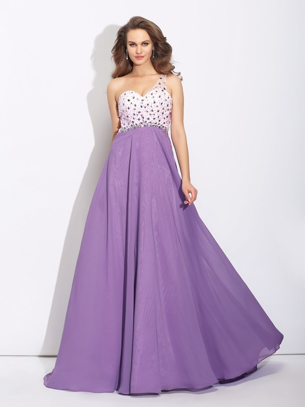 A-Line/Princess Crystal One-Shoulder Sleeveless Sweep/Brush Train Chiffon Dresses