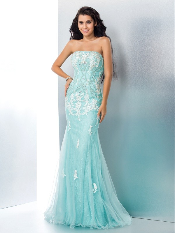Trumpet/Mermaid Applique Strapless Sleeveless Sweep/Brush Train Lace Dresses