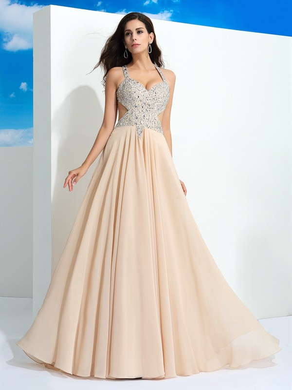 A-Line/Princess Beading Straps Sleeveless Sweep/Brush Train Chiffon Dresses