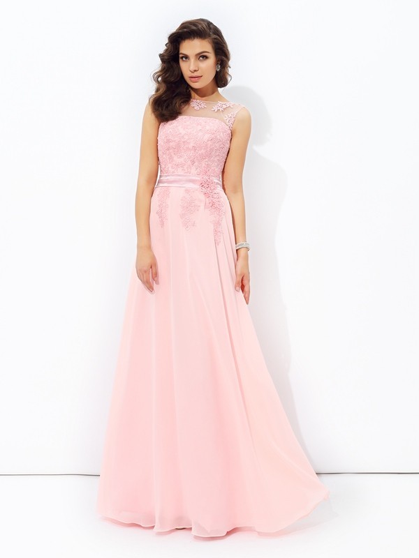 A-Line/Princess Applique Scoop Sleeveless Floor-Length Chiffon Dresses