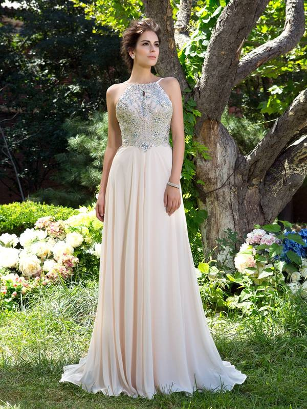 A-Line/Princess Beading Spaghetti Straps Sleeveless Sweep/Brush Train Chiffon Dresses