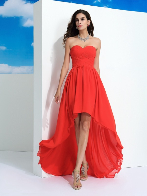 A-Line/Princess Pleats Sweetheart Sleeveless Asymmetrical Chiffon Dresses