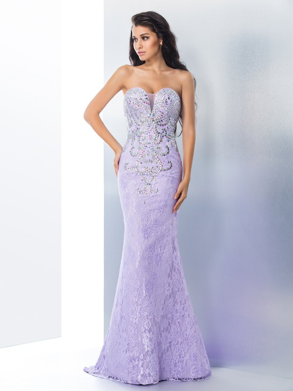 Trumpet/Mermaid Beading Sweetheart Sleeveless Sweep/Brush Train Lace Dresses