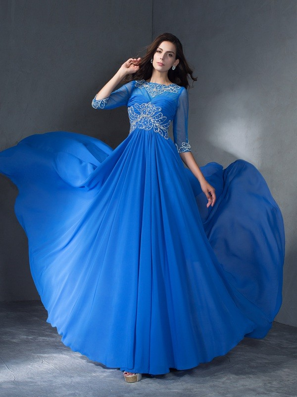 A-Line/Princess Beading Scoop 1/2 Sleeves Sweep/Brush Train Chiffon Dresses