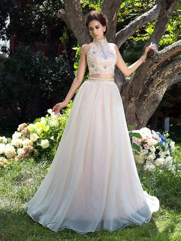 A-Line/Princess Beading High Neck Sleeveless Sweep/Brush Train Net Two Piece Dresses