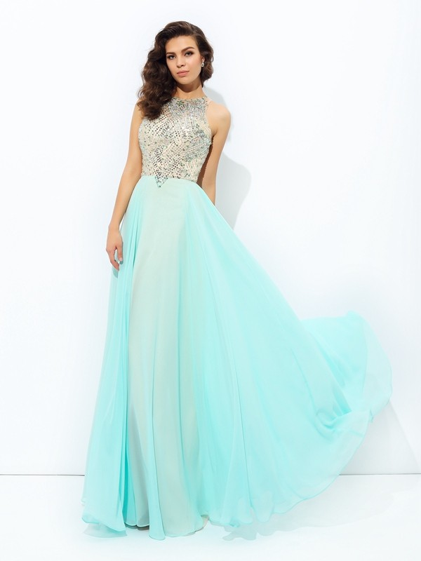 A-Line/Princess Beading Jewel Sleeveless Floor-Length Chiffon Dresses