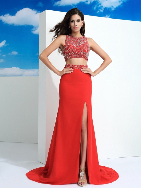 Sheath/Column Beading Scoop Sleeveless Court Train Chiffon Two Piece Dresses