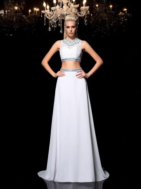 A-Line/Princess Beading Jewel Sleeveless Floor-Length Chiffon Two Piece Dresses