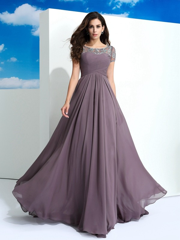 A-Line/Princess Beading Sheer Neck Short Sleeves Floor-Length Chiffon Dresses