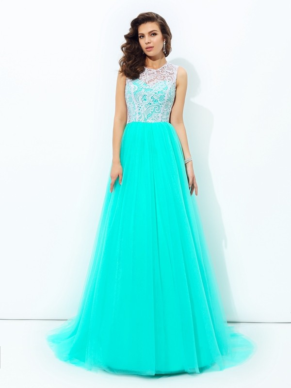 A-Line/Princess Lace Scoop Sleeveless Sweep/Brush Train Net Dresses