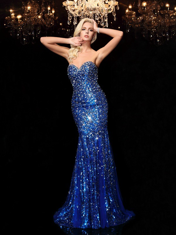 Trumpet/Mermaid Sequin Sweetheart Sleeveless Court Train Sequins Dresses