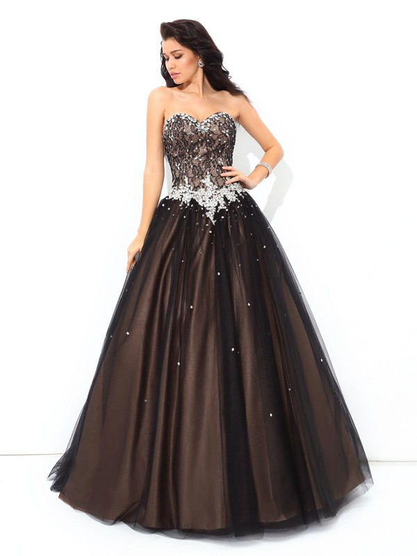 Ball Gown Beading Sweetheart Sleeveless Floor-Length Net Dresses