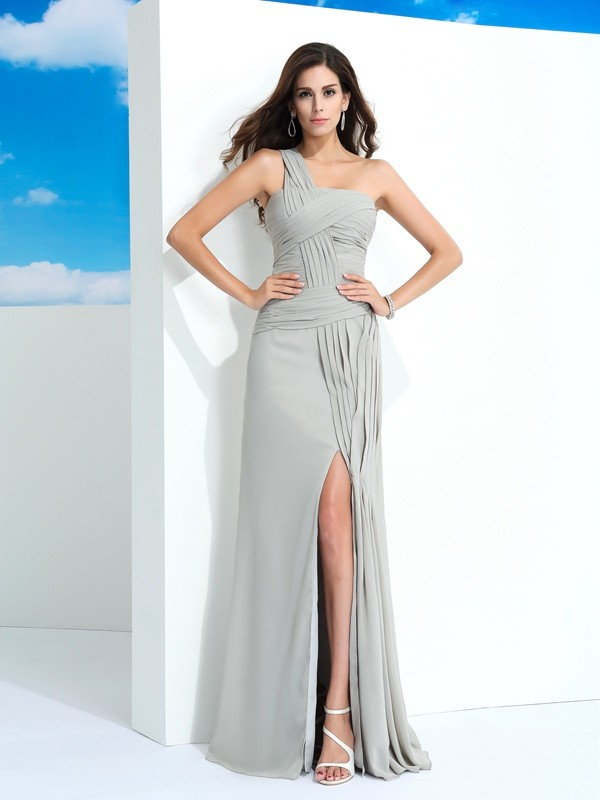 Sheath/Column Pleats One-Shoulder Sleeveless Floor-Length Chiffon Dresses